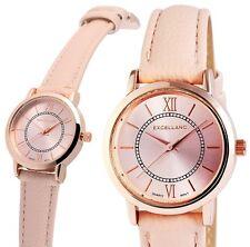 Damen Armbanduhr Rosa/Rosé Kunstlederarmband von Excellanc
