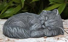 sculpture de Pierre CHAT DORMANT gris-ardoise jet Statue décorative jardin