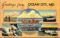 RARE - Greetings From Ocean City Maryland Large Letter Linen Postcard
