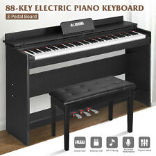 88 Key LCD Digital Electric Piano Keyboard w/ Bench 3 Pedal Board Adaptor Stand