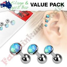316L Surgical Steel Cartilage Barbells with Blue Opal Set Top 3 pce Value Pack