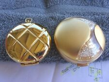 2 Estee Lauder Compacts Usa Gold Tone Pocket Watch Style /2000 Swarovski Crystal