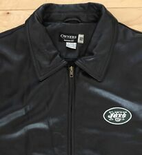 Black Leather Mens Jacket Coat NY Jets NFL Owners Collection. Reebok. L