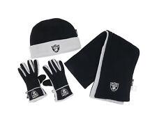 Reebok Scarf Gloves Beanie Winter Set Oakland Raiders Black Gray