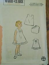 """ANCIEN PATRON  MARIE CLAIRE """"LINGERIE PETITE FILLE   .... 3 A 5 ANS 1960"""