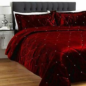 5 Pc Diamante Cal. King Burgendy Velvet Crystal Bedspread Set with Pillow covers