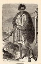CHEF CHIEF NOUVELLE ZELANDE NEW ZEALAND IMAGE 1886 ENGRAVING