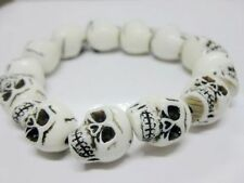 Tibet Man's cool white skull head face beads jewelry mini bracelet