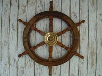 "24"" Wood / Brass Ship Wheel ~ Large Steering Helm ~ Wooden Nautical Wall Decor"