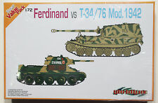 SEALED Dragon 7391 1/72  T-34 M42 and SdKfz 184 Ferdinand Tank Destroyer Pair