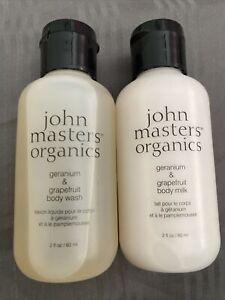 John Masters Organics Geranium & Grapefruit Body Milk & Wash 2oz🌹each NEW!