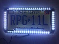 Universal 12V 60 LED Lights Front Rear Acrylic License Plate Cover Frame Kit