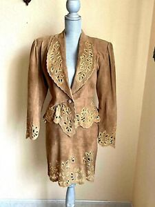 Embroidered Suede Two Piece Women Suit
