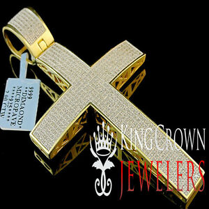 Men Elegant 14k Yellow Gold Finish Genuine Diamond Cross Pendant 3.5 Inch 2.0 ct