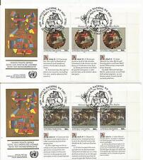 Uno NY 3 x  Nr.623-24 auf 2 FDC jeweils alle 3 Varianten