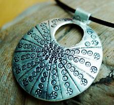 Groß Silber Anhänger Floral Rund Ø 3,5 cm Amulett Muster Kreise Punkte Muschel