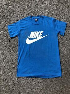Vtg Nike Blue Tag Made USA T-Shirt Medium 80s Single Stitch SWOOSH Baby Blue