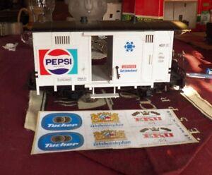 LGB 4031, PEPSI 2 AXLE FREIGHT CAR, LED LIGHTS ANTI-FLICKER BATTERY- DECALS NIB
