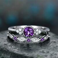 Natural Amethyst Sapphire Ring Jewelry with Gemstone Party Wedding Rings Gifts