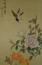 CHINESE PAINTING HANGING SCROLL Bird Flower INK Pic Picture Antique China u74