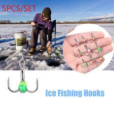 8# 10# Sinking Bait Carbon Steel Tackle Tools Ice Fishing Hooks Three-jaw Hook