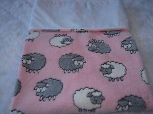 Grey & White Sheep On Pink Fleece White Minky Reversible Handmade Blanket