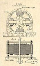 Patent Prints - 1888 Nikola Tesla Patent Art Print - Electro Magnetic Motor - 2
