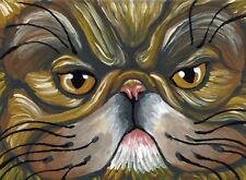 ACEO ATC Original Brown Tabby Persian Cat Pet Art-Carla Smale