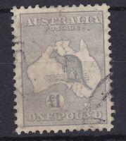 K762) Australia 1935 £1 Grey C of A wmk. Kangaroo ACSC 54