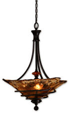 Tuscan 3 Light Pendant Oil Rubbed Bronze Iron Toffee Glass Chandelier French
