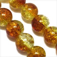 Pack Von 20 Perlen Krakelee aus Glas 10mm Zweifarbig Topas Kristall