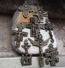 8PCS different Catholic Religious antique Bronze Cross Crucifix Rosary Pendant