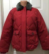 EDDIE BAUER Women's Goose Down Winter Jacket Coat W Detachable Fur Size M Red