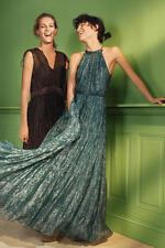 NEW Anthropologie Metallic Celestial Halter Maxi Dress by Ranna Gill Sz Medium