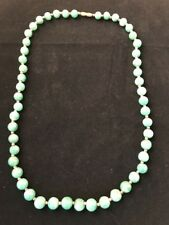 "Vintage Jade Necklace Hand Made Sterling Silver Beeds   Brass Clasp 23 1/2"" long"