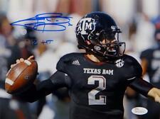 Johnny Manziel Autographed *Blue Texas A&M 8x10 Close Up Photo W/ HT- JSA W