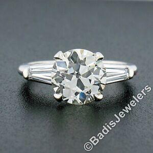 Antique Platinum 3.45ctw GIA European Diamond Solitaire 3 Stone Engagement Ring