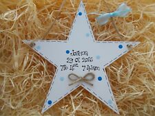 New Baby Boy Hanging Star Keepsake Plaque Gift Personalised