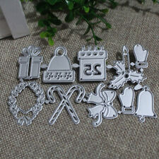 Christmas Cutting Dies Stick Candle Gift Box Bells Gloves Metal ScrapbookiBLUS