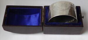 Large & heavy silver boxed NAPKIN / SERVIETTE RING 29.9g - 26mm deep  B'ham 1914