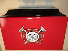 832Red & BlK Firemens Funeral Adult Cremation Urn with 5 Free Lines of Lettering