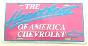 HEARTBEAT OF AMERICA CHEVROLET METAL TIN NOVELTY LICENSE PLATE WALL SIGN CHEVY