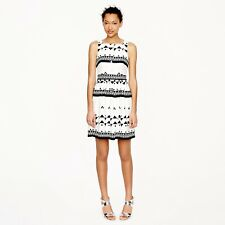 J Crew Size 6 Button Front Linen Cotton Black White Printed Sleeveless Dress