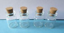 4x Glas Flasche Vorratsglas Gläser Flaschen Puppenstube mit Korken Miniatur 1:12