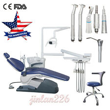 Fda Ce Dental Chair Unit 110v Hard Leather Dc Motor 3 Way Syringe Handpiece Kit