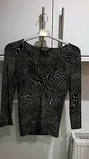 PRINCIPLES PETITE SIZE 8 BLACK & WHITE STRETCH KNOTTED/CROSS OVER  FRONT TOP
