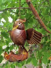 Cute Small Rustic Tin Metal Hanging Bird Feeder Garden Yard Decor Lodge Cabin