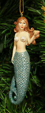 HAND PAINTED MERMAID W/ BLUE SHIMMERY TAIL CHRISTMAS TREE ORNAMENT STYLE 2