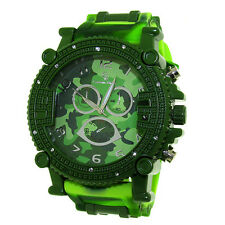 MENS ICED OUT GREEN CAMOUFLAGE CAPTAIN BLING ICE NATION WATCH WITH BULLET BAND