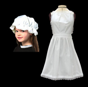 Child Long Apron + Cap Victorian Serving Maid Book Day Fancy Dress Childrens